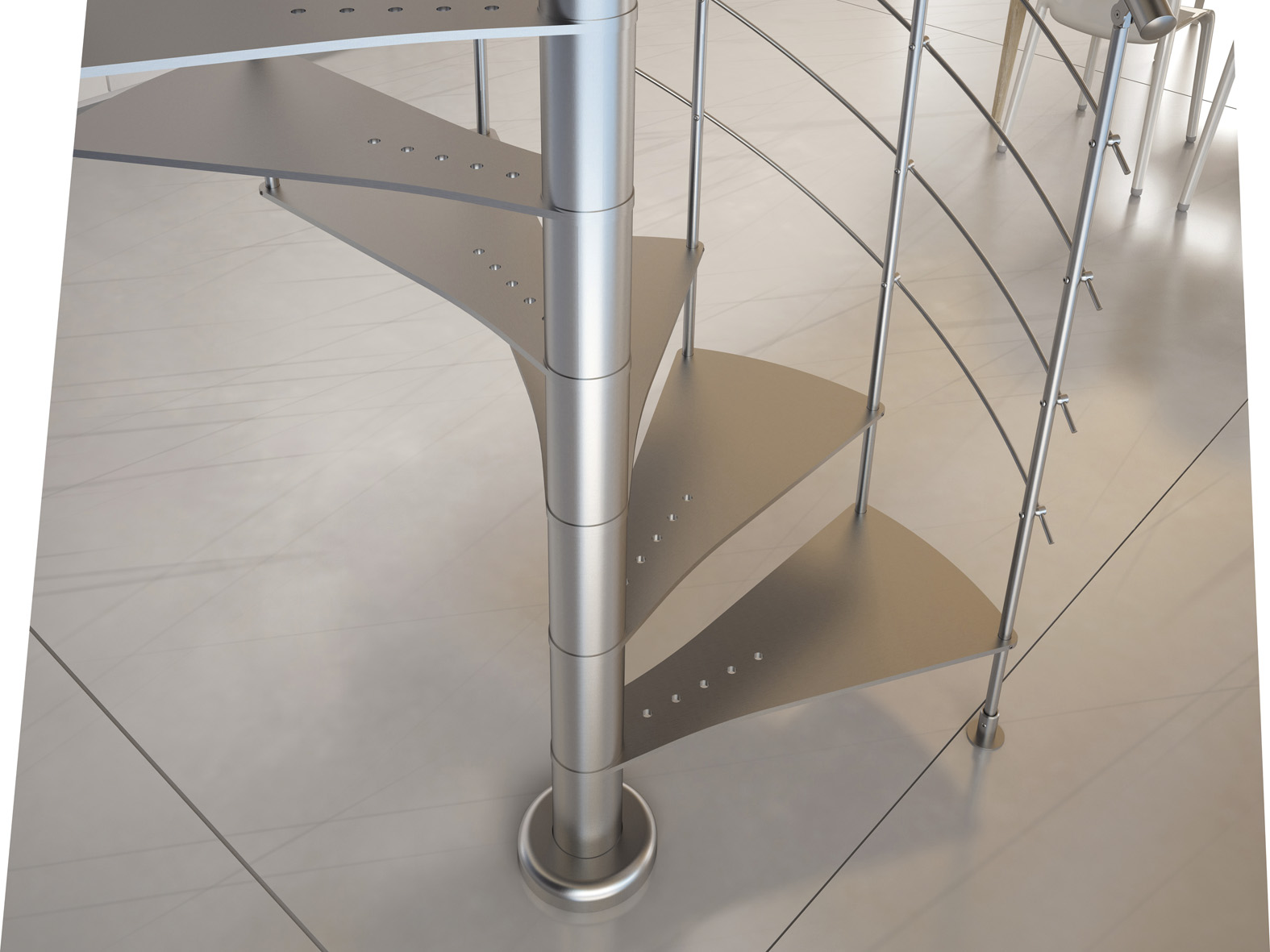 Scale A Chiocciola Moderne metal staircase design - sl8 - elegance collection by cast