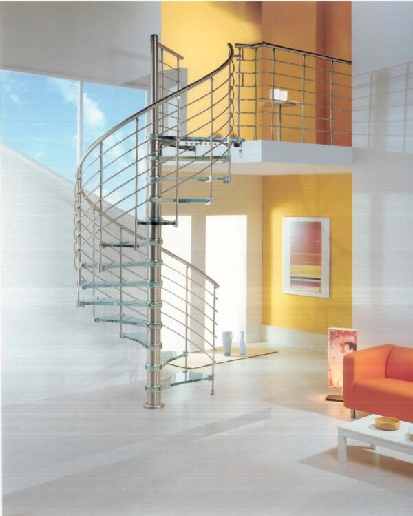 Glass spiral staircase by Cast Stairs - Ice Blue Kristall